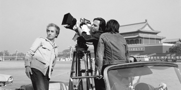Michelangelo Antonioni during the shooting of Chung Kuo, China in 1972. Courtesy Photographic Archive of Rai Teche.
