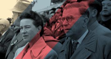 Simone de Beauvoir e Jean-Paul Sartre na cerimônia do sexto aniversário da República Comunista da China, em 1955 (Liu Dong'ao/ Reprodução)