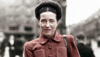 A filósofa francesa Simone de Beauvoir em 1946