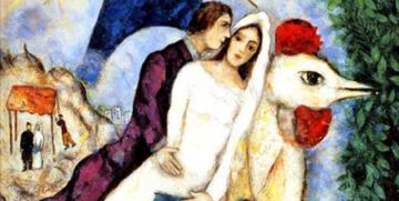 Os recém - casados da Torre Eiffel, quadro de Marc Chagall/Reprodução