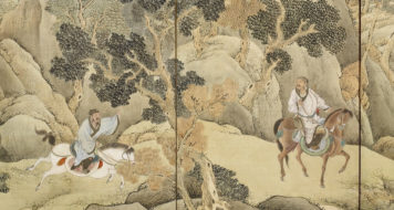 """Detalhe """"Xiao He persegue Han Xin"""", de Yosa Buson, Nomura Art Museum"""