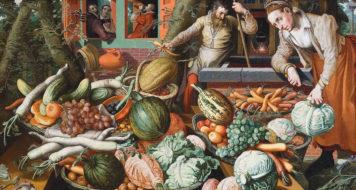 Pieter Aertsen, Cena do mercado, 1569. Museu Hallwyl em Estocolmo, Suécia