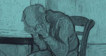 Homem velho com a cabeça em suas mãos, de Vincent Van Gogh, 1890
