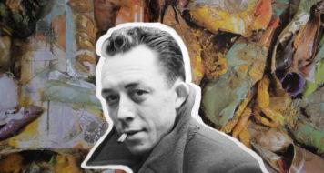 Arte sobre foto de Albert Camus e obra de Nuno Ramos (Arte: Revista CULT)