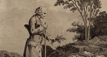 Jean-Jacques Rousseau recolhendo ervas em Ermenonville, de Nicolas Andre Monsiau (Bliblioteca Nacional, Paris)