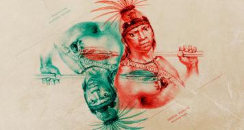 Arte sobre litografia: Índio Camacã Mongoió, de Jean Baptiste Debret, 1834 (Arte Andreia Freire / Reprodução)