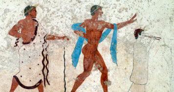Detalhe do afresco feito no túmulo do Diver onde foram retratadas cenas da homossexualidade grega no século V. Acervo do Museu Arqueológico de Paestum, Itália (Reprodução)