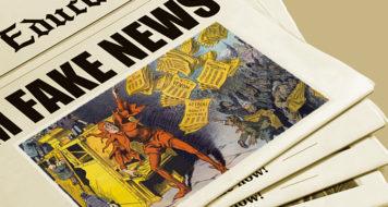 Arte sobre obra A imprensa amarela, de L. M. Slackens