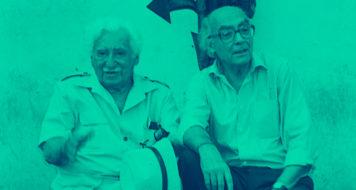Os escritores Jorge Amado e José Saramago (Acervo Zélia Gattai/ Fundação Casa de Jorge Amado)