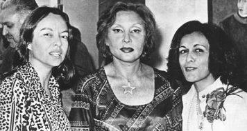 Clarice entre as amigas Nélida Piñon (à esquerda) e Marly de Oliveira (à direita) durante lançamento do livro de poemas 'Contato', de Marly de Oliveira, Rio de Janeiro, 1975 (Reprodução)