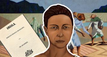 Ilustração do selo comemorativo de 2015 da Academia Ludovicense de Letras da escritora abolicionista Maria Firmina dos Reis, junto da folha de rosto de seu livro 'Úrsula' e da obra 'Semeadura', de Clóvis Graciano (Arte Revista CULT)