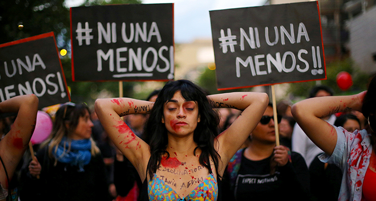 Protesto Ni una menos em Santiago, Chile (Foto Ivan Alvarado / Divulgação)