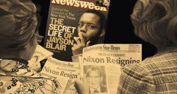 O caso Watergate e do repórter Jayson Blair simbolizam a ascensão e a queda da credibilidade jornalística (Arte Revista CULT)