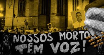Protesto das Mães de Maio na Praça da Sé em 2015; no detalhe, o carroceiro Ricardo Silva Nascimento, morto pela polícia no bairro de Pinheiros, zona oeste de São Paulo, em 2017 (Arte Andreia Freire / Foto Rafael Bonifácio)