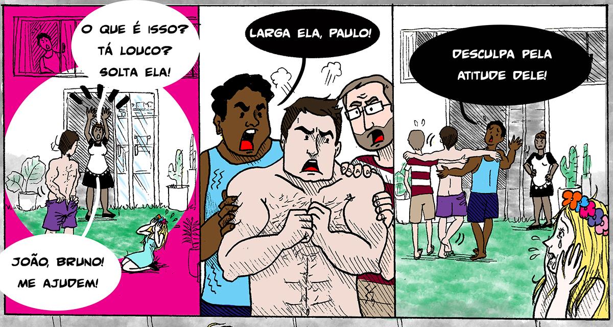 Parte da reportagem em quadrinhos 'Assédio no Carnaval', de Helô D'Angelo (Arte: Helô D'Angelo/ Catraca Livre/ Reprodução)