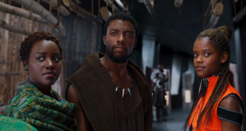 Lupita Nyong'o, Chadwick Boseman e Letitia Wright em cena de Pantera Negra (Disney/Divulgação)