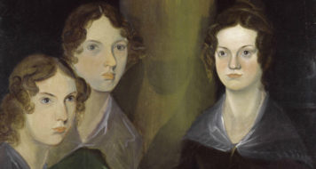 Anne, Emily e Charlotte Brontë em retrato de Branwell, irmão das três (1834)