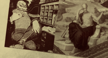'Plutocracia e Pirataria', de G.K. Chesterton, 1928 e 'Aristoteles', de Ludwig Seitz, 1883 e 1887 (Arte Revista CULT / Reprodução)