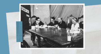 Bento Prado Júnior com Ruy Coelho, Jean-Paul Sartre e Simone de Beauvoir na TV Excelsior, 1960 (Arquivo da família)