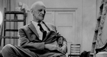Winnicott no estúdio do escultor Oscar Nemon, Inglaterra, 1960/1970 (Cortesia de Winnicott Trust e Wellcome Collection, Londres)