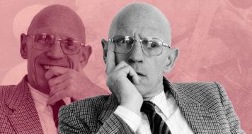O filósofo Michel Foucault, 1984 (Arte Andreia Freire | Foto Michele Bancilhon / Reprodução)
