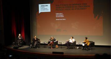 seminário CULT: Eugênio Bucci, Carla Rodrigues, Christian Dunlker e a mediadora Áurea Vieira (Foto: Rachel Sciré)