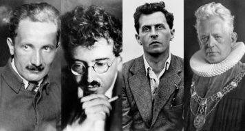A partir da foto à esquerda, no sentido horário: Ludwig Wittgenstein, em 1929; Ernst Cassirer, em 1929; Walter Benjamin, em 1925; e Martin Heidegger, em 1929