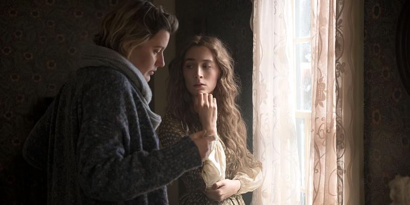 Greta Gerwig e Saoirse Ronan nas filmagens de Little Women
