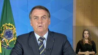 Presidente Jair Bolsonaro durante pronunciamento em rede nacional de televisão e rádio Foto: Reprodução