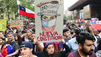 Manifestações no Chile (Foto: Telam)