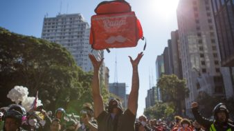 São Paulo SP 01 07 2020-Paralisação de trabalhadores de aplicativos em varios pontos da capital fizeram manifestações foto Felipe Campos Mello