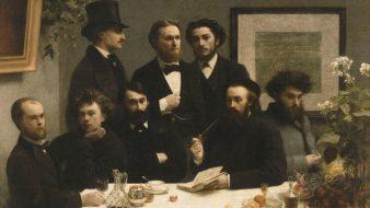 'À volta da mesa', de Henri Fantin-Latour, 1872. Rimbaud é o segundo da esquerda para a direita. Ao seu lado direito, Paul Verlaine