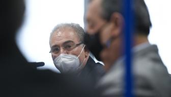 ministro de Estado da Saúde, Marcelo Queiroga; presidente da CPIPANDEMIA, senador Omar Aziz (PSD-AM). Foto: Edilson Rodrigues/Agência Senado